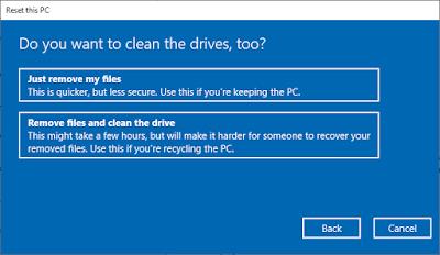 Pengaturan Reset Windows 10 Untuk Menghapus Semua Data Atau Tidak