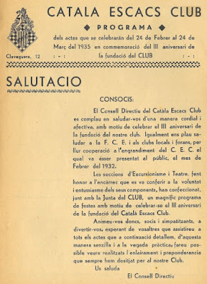 Boletín del III Aniversario del Català Escacs Club
