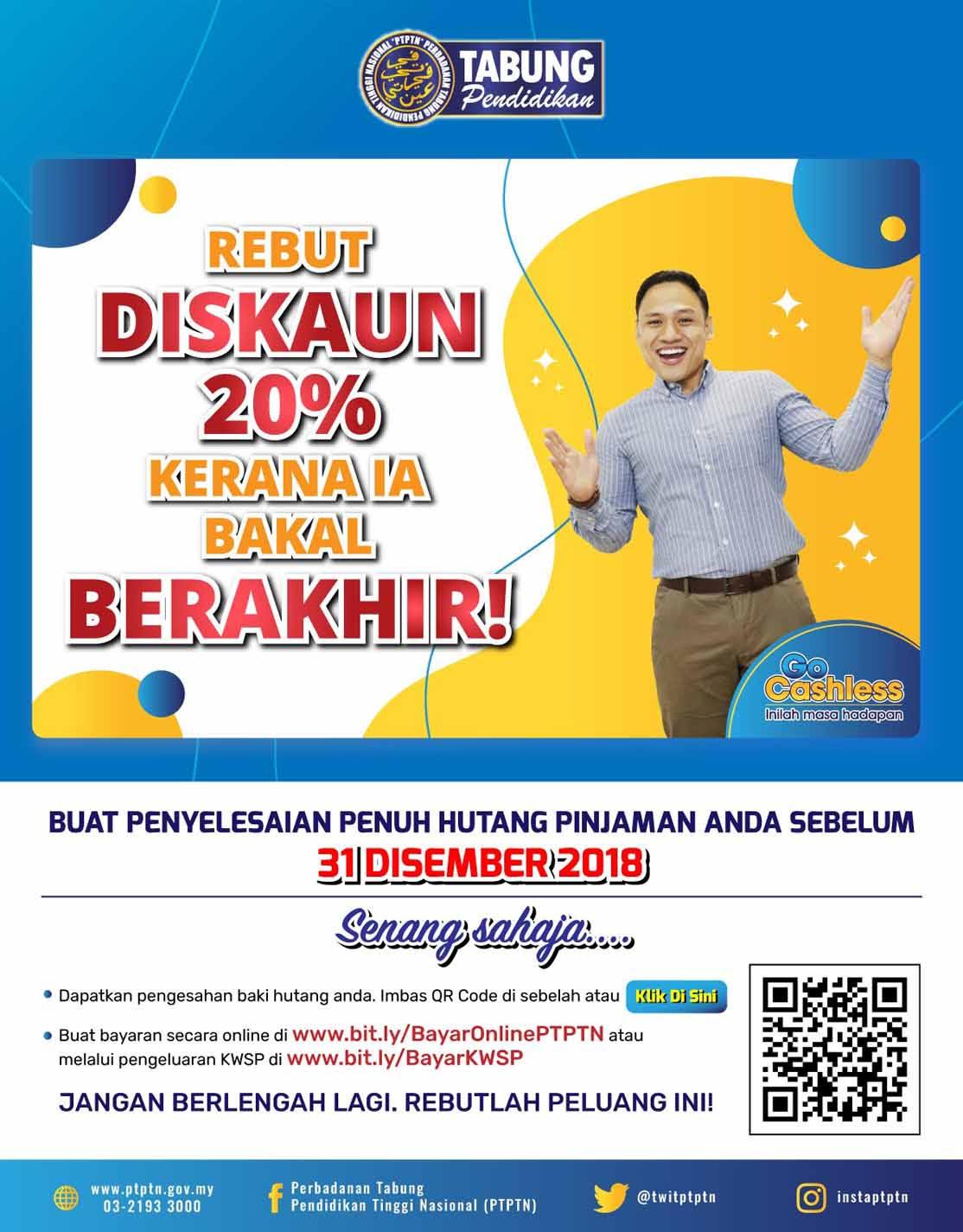 REBUT DISKAUN 20% PTPTN!!!