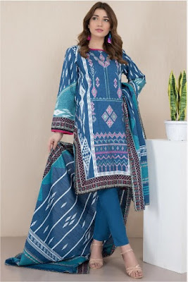 Warda blue color khaddar print embroidered 3 PC suit
