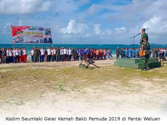 Kodim Saumlaki Gelar Kemah Bakti Pemuda 2019 di Pantai Weluan