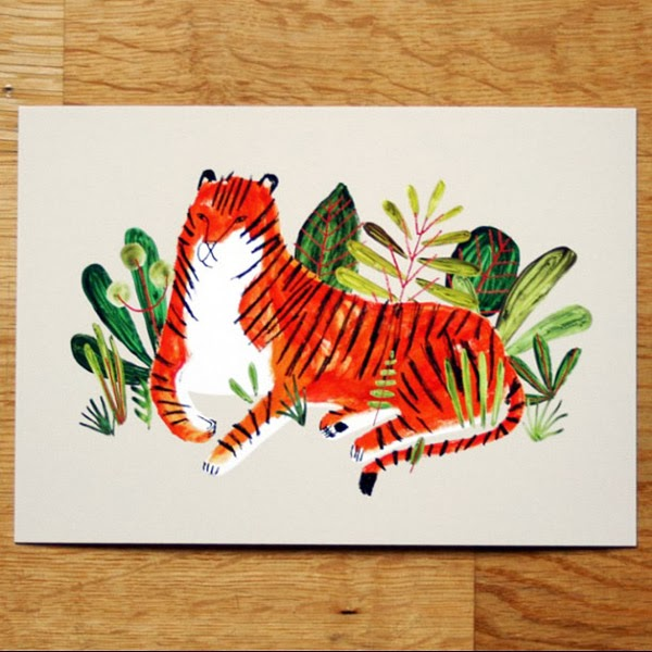 Love this tiger illustration by Jen Collins! Seen on Instagram