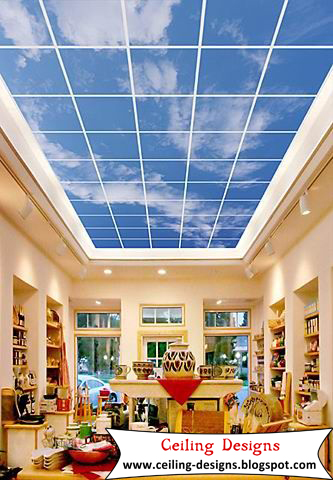 Sky gypsum ceiling murals for living room for Ceiling mural in smokers lounge