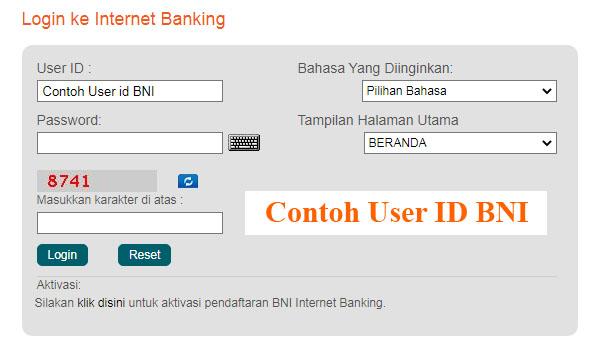 Contoh User ID BNI