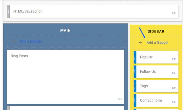 adding blogger widget