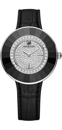 Swarovski Octea Black-Tone Croc Strap Watch