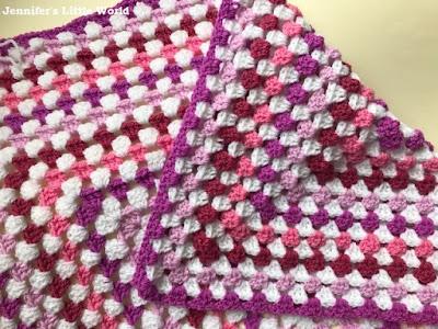 Pink crochet granny square blanket