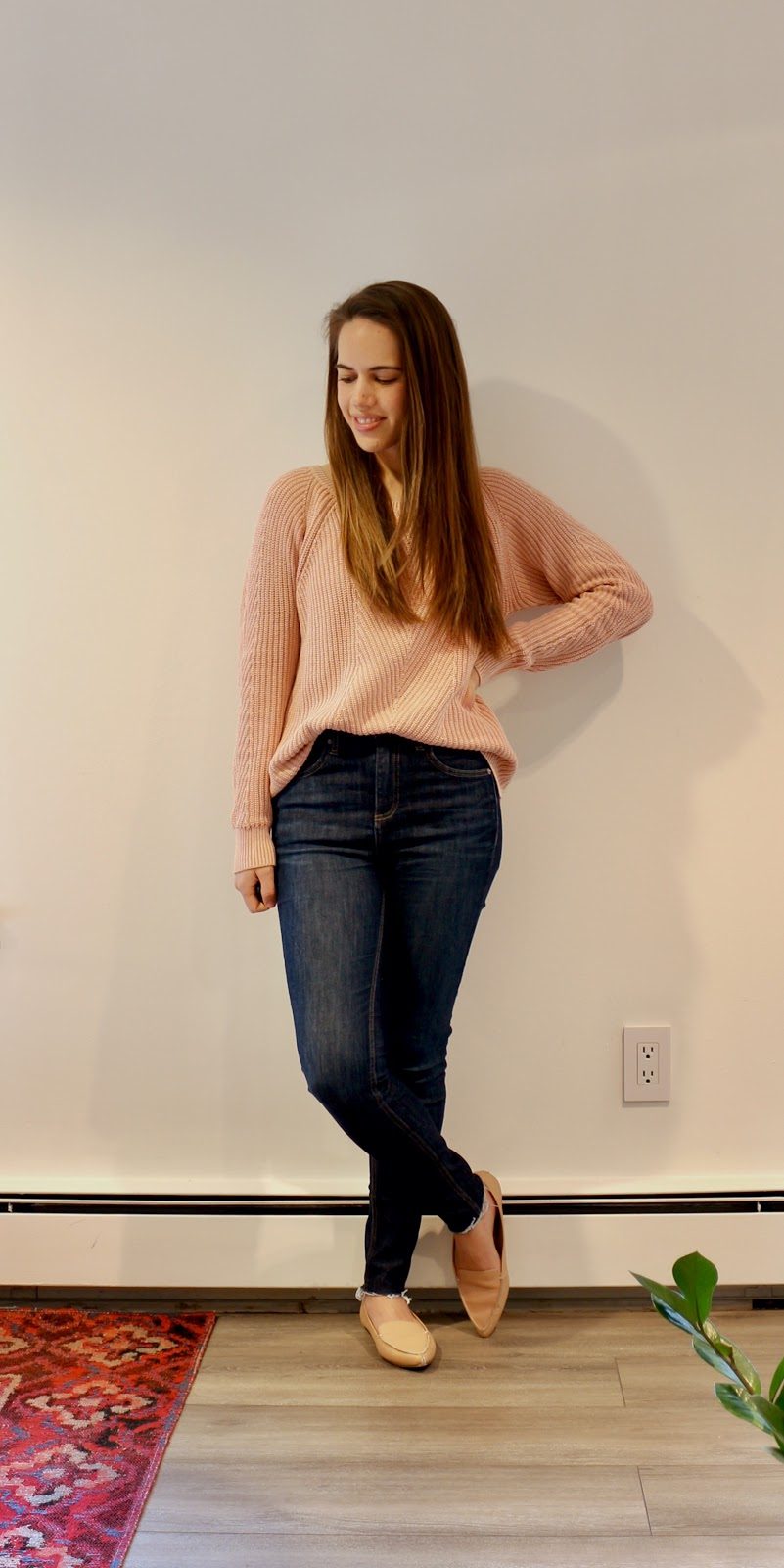 Jules in Flats - Gap Faded Sweater with Rag & Bone Skinny Jeans (Business Casual Workwear on a Budget)