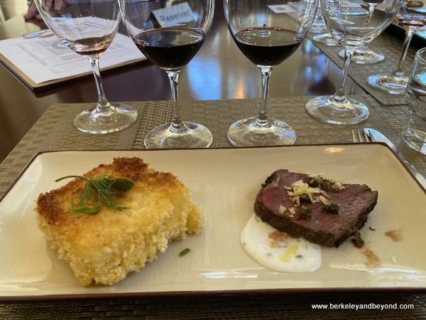 course 2--mac and cheese+beef tenderloin--at Chateau St. Jean Vineyards and Winery in Kenwood, California