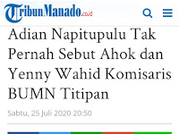 Mainstream Terbesar Nasional Langgar Kaidah Jurnalistik; [Salah] Beritakan Adian Sebut Ahok - Yenny Wahid Komisaris Titipan