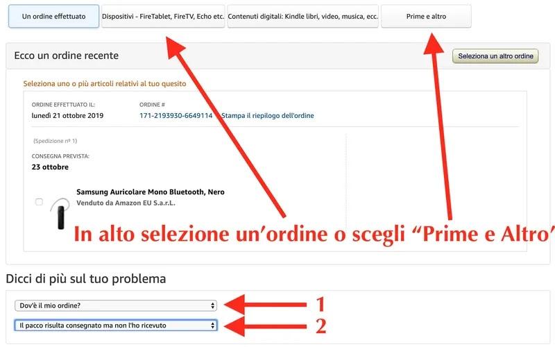 pagina per ricevere assistenza tecnica da amazon tramite browser computer