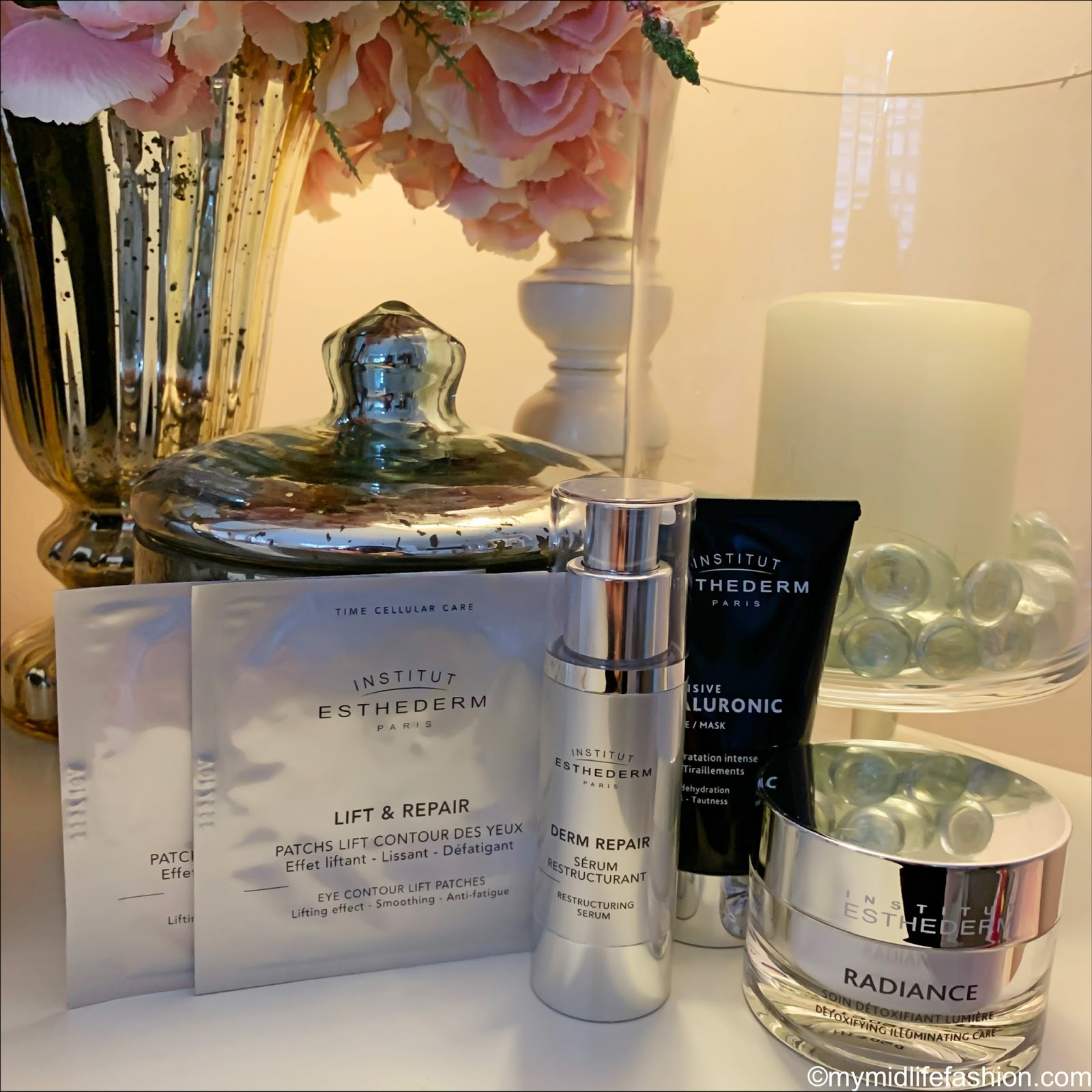 my midlife fashion, institut esthederm, institut esthederm eye contour lift patches, institut esthederm derm repair restructuring serum, institut esthederm intensive hyaluronic mask, institut esthederm radiance detoxifying illuminating care