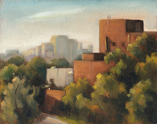 Oil painting of a series of large buildings flanked by trees with high-rise buildings in the distance.