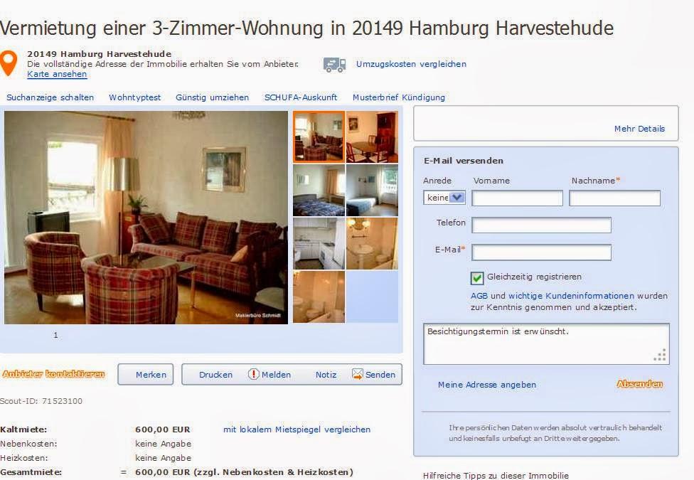 Vermietung einer 3 zimmer for Zimmer in hamburg