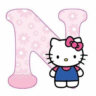 Abecedario con Flores Rosadas y Hello Kitty.