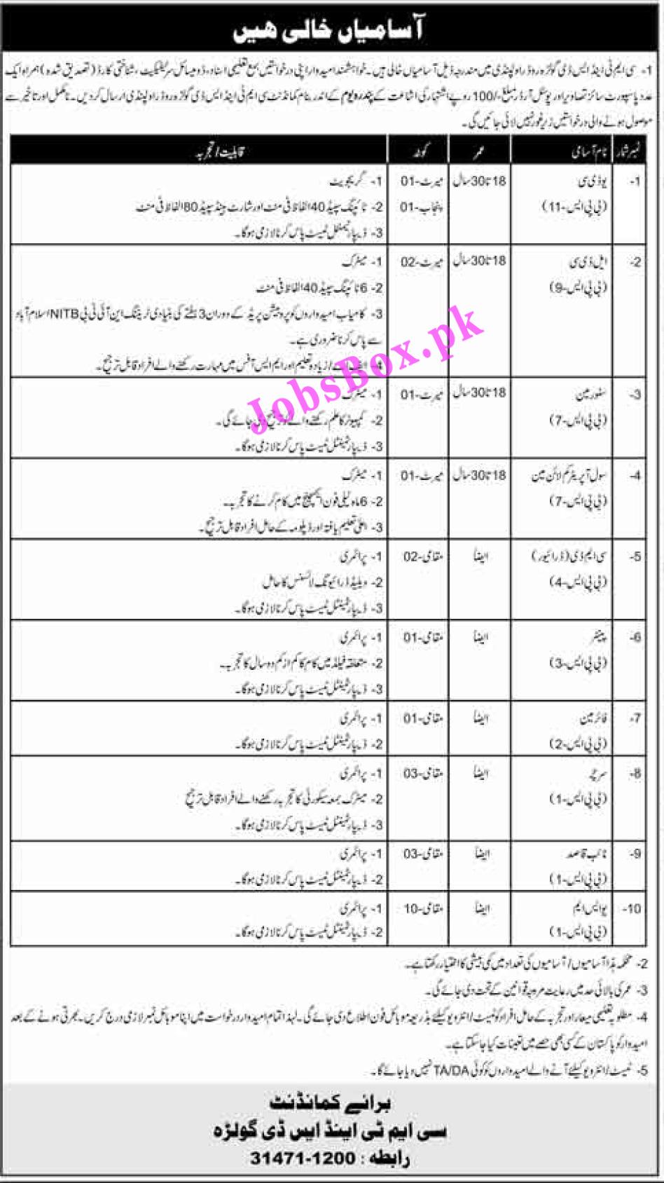 Pakistan Army Civilian Jobs 2021 in CMT and SD Golra Rawalpindi