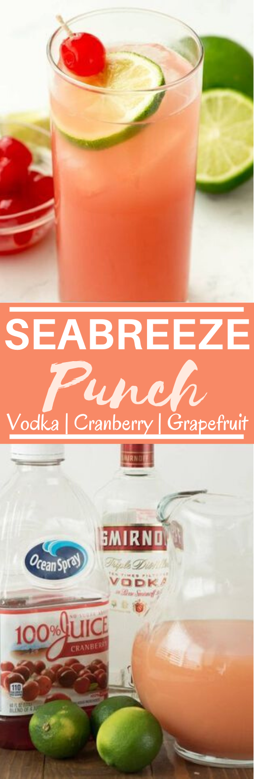 Sea Breeze Cocktail Punch #drinks #alcohol #cocktails #punch #summer