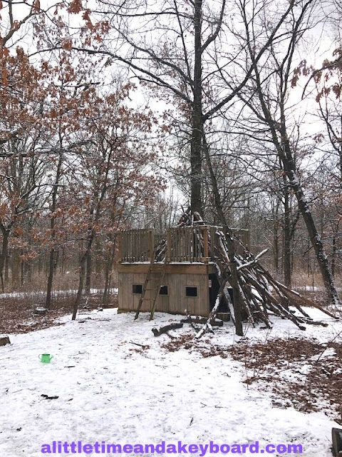 Nature fort ready for an adventure at Heller Nature Center in Highland Park, Illinois