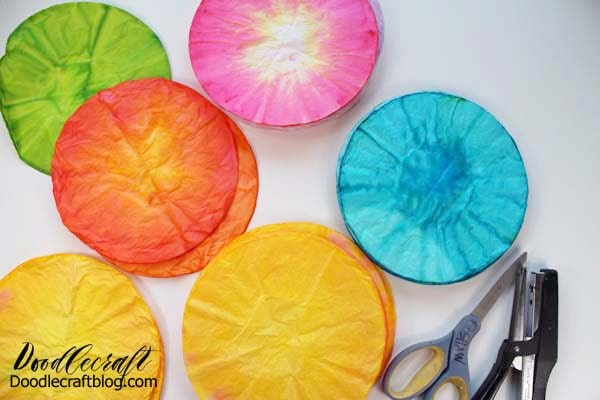 Make a brightly colored coffee filter rose with 115 layers of fluffy paper.