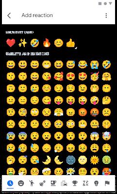 Imagen de la selección de emojis en un teléfono Android que muestra los emojis disponibles