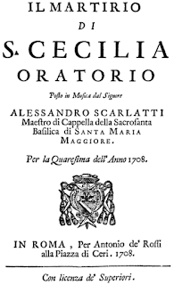 The cover of the libretto for Scarlatti's  'The Martyrdom of St Cecilia'