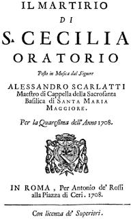 The cover of the libretto for Scarlatti's  'The Martyrdom of St Cecilia'