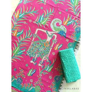 kain batik printing wayang pink mix embos
