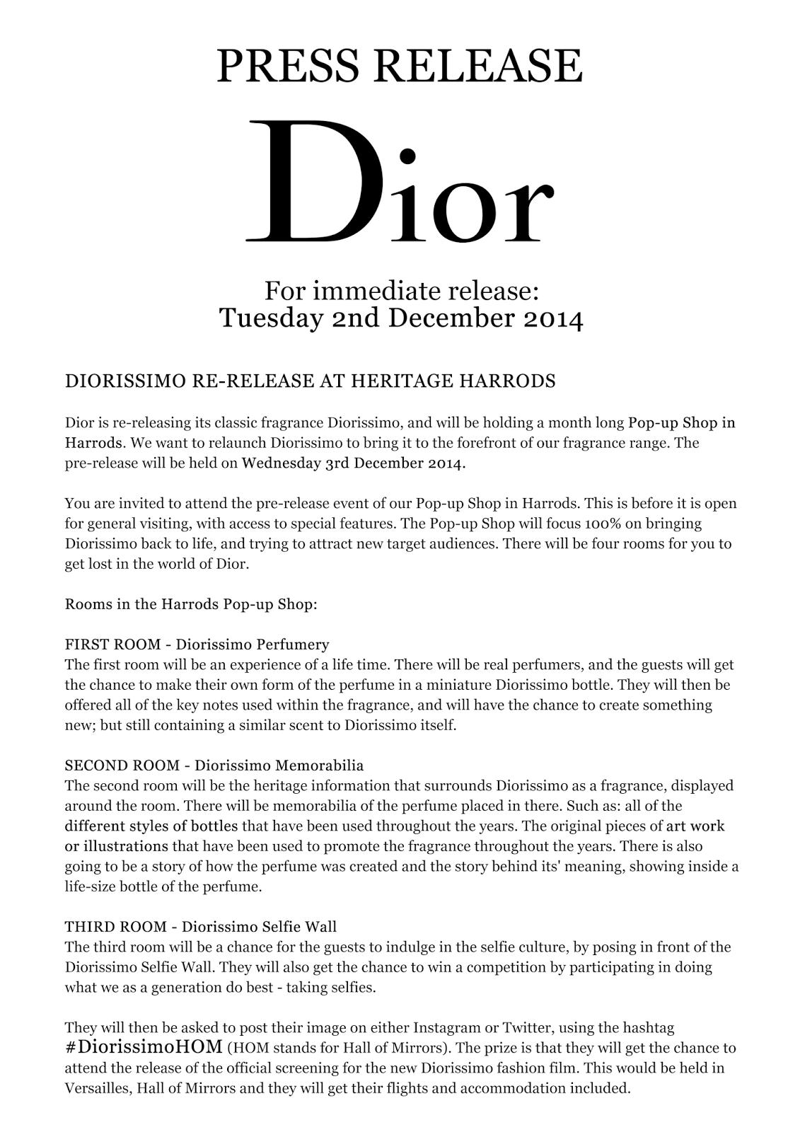 Fashion promotion blog press release diorissimo for Film press release template