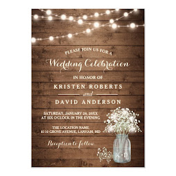 Rustic Mason Jar and Lights Personalized Winter Wedding Invite