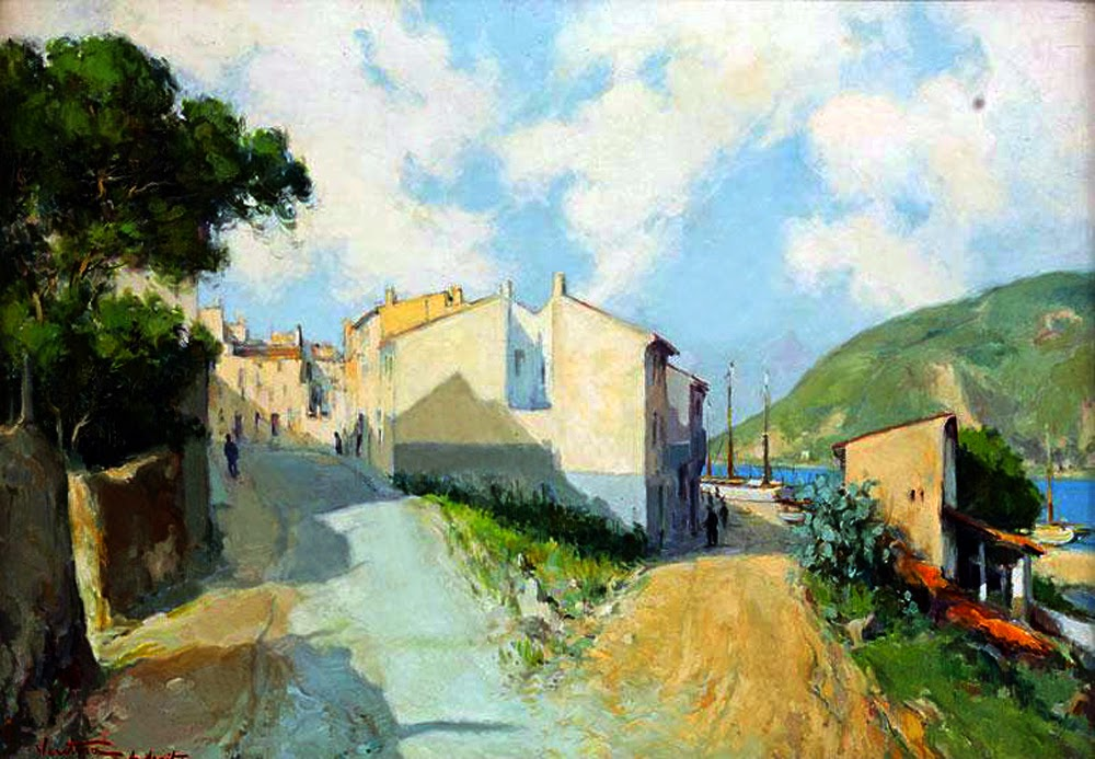 José Ventosa Domenech, Vista de Andratx,  Mallorca en Pintura, Paintirng of Cadaqués, Mallorca pintada, Paisajes de Mallorca, Mallorca en Pintura,