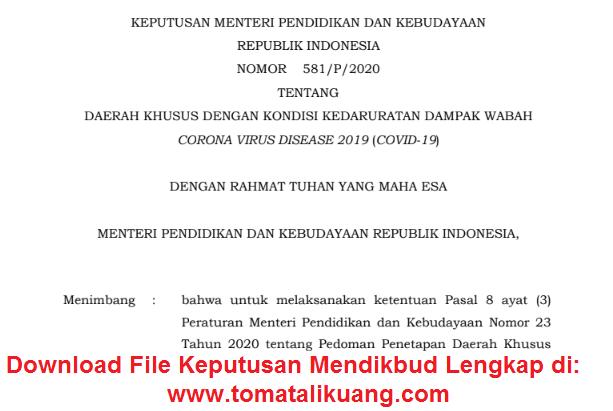 keputusan mendikbud nomor 581 p 2020 tentang daftar daerah khusus dengan kondisi kedaruratan dampak wabah virus corona covid 19 tomatalikuang.com.