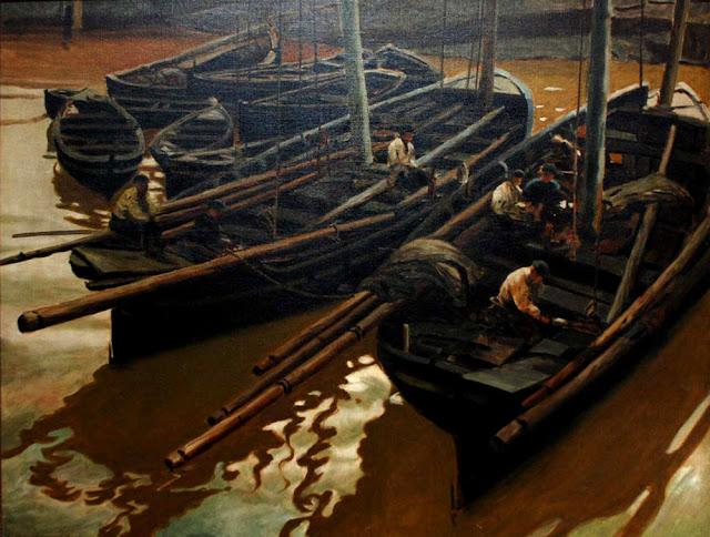 Barcos al amanecer, Enrique Martínez Cubells, Pintor español, Pintores españoles, Martínez Cubells, Paisajes de Enrique Martínez Cubells, Pintores Valencianos