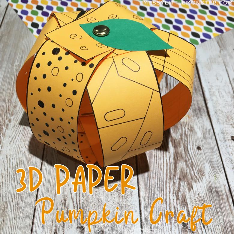 3D paper pumpkin craft