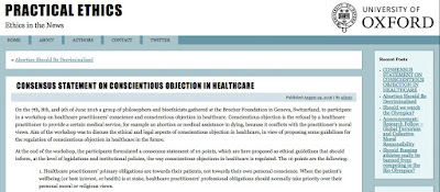 http://blog.practicalethics.ox.ac.uk/2016/08/consensus-statement-on-conscientious-objection-in-healthcare/
