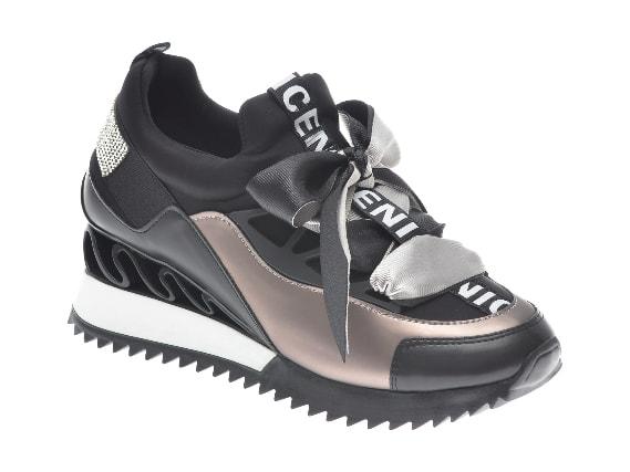 Pantofi sport GRYXX negri, cu talpa groasa fashion, din piele ecologica