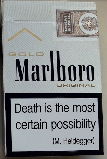 Marlboro cigarette package with label Death is the most certain possibility Heidegger A Nice Intellectual Song Philosopher Song Live at the Hollywood Bowl. Other stories of Something to Say. Marchmatron.com