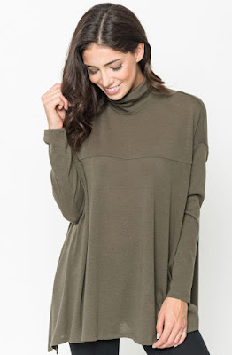 Buy Olive Funnel Neck Draped Knit Tunic Online $20 -@caralase.com