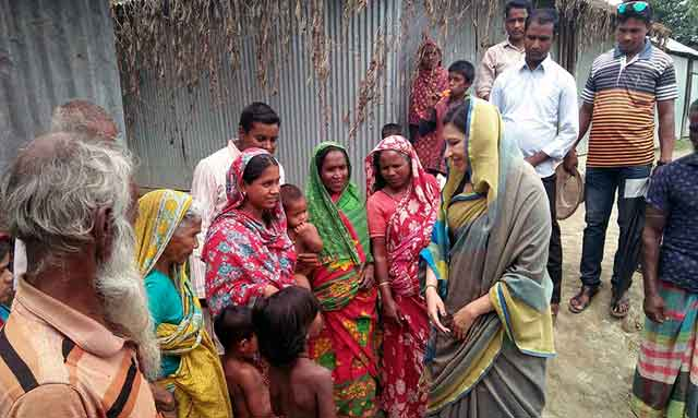 Mahzabin Khaled MP in remote areas of Jamuna in Islampur