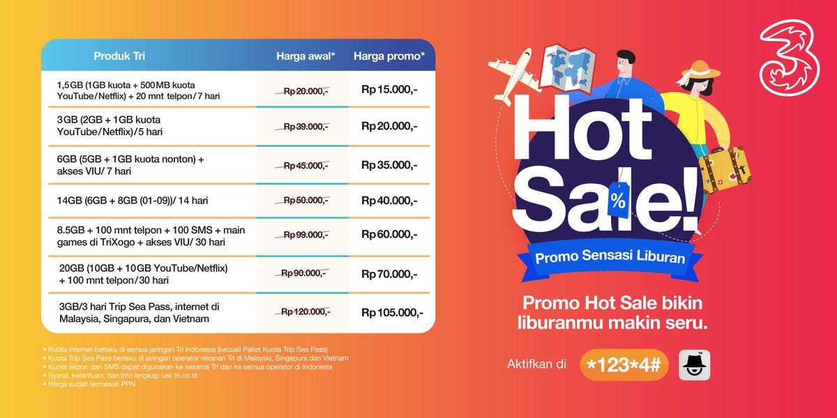 #Tri - Promo Hot Sale Sensasi Liburan Mulai 15K (1,5G) - 70K (20GB/3Hari)