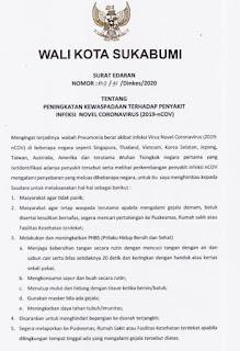Surat Edaran Wali Kota Sukabumi Peningkatan Waspada Virus Corona