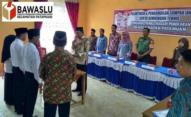 3 Anggota Panwaslu Nagari Pemekaran di Kecamatan Patamuan Dilantik