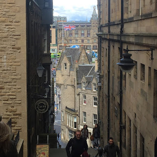 View down Roxburgh's Close near Old Town Chambers Edinburgh