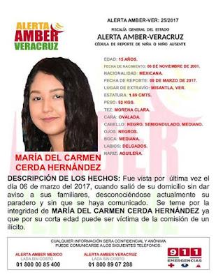 Activan Alerta Amber para María del Carmen Cerda Hernández en Misantla Veracruz