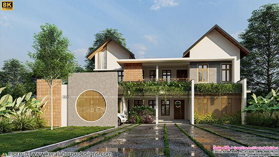 modern mixed roof house