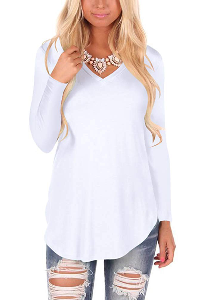 WFTBDREAM Womens Casual Curved Hem Long Sleeve T Shirt V Neck Side Slit Blouse  - white-long Sleeve
