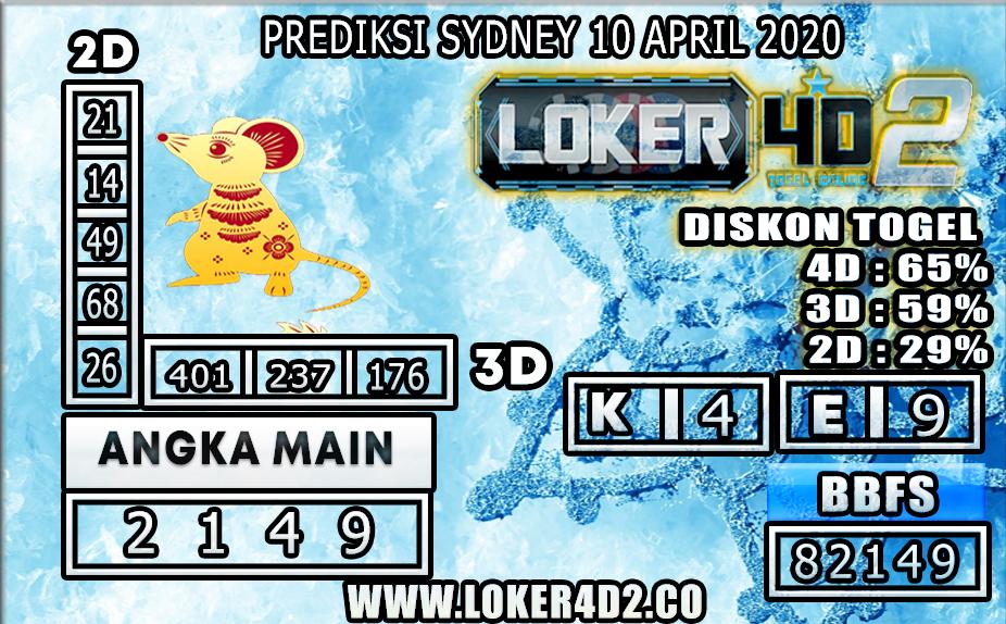 PREDIKSI TOGEL SYDNEY LOKER4D2 10 APRIL 2020
