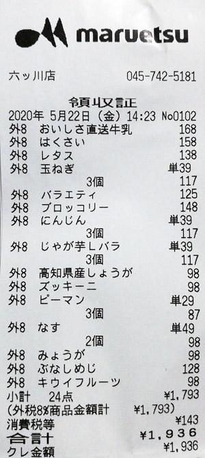 マルエツ 六ッ川店 2020/5/22 のレシート