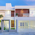 Fachada de casa revestida com cimentício branco e madeira + muro de vidro!