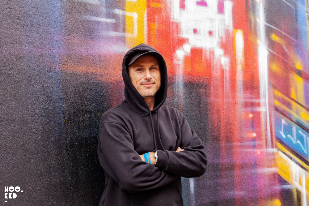 Portrait of London based street artist Dan Kitchener aka Dank, photographed in Ireland