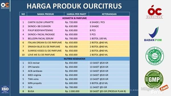 daftar harga produk ourcitrus (nutrisi kesehatan, kosmetik dan parfume)